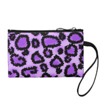 Purple and Black Leopard Print Pattern. Coin Purse