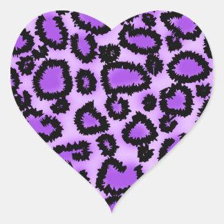Purple and Black Leopard Print Pattern. Heart Sticker