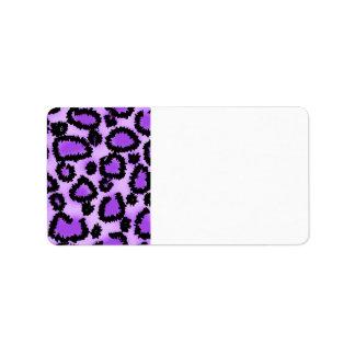 Purple and Black Leopard Print Pattern Address Label