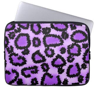 Purple and Black Leopard Print Pattern. Laptop Sleeve