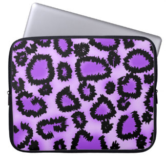 Purple and Black Leopard Print Pattern. Laptop Sleeves