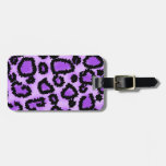 Purple and Black Leopard Print Pattern. Tags For Bags