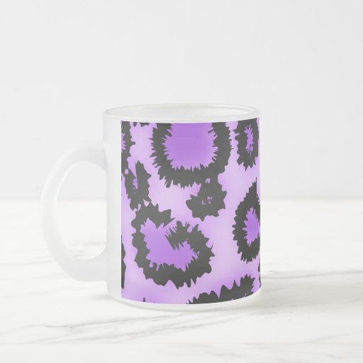 Purple and Black Leopard Print Pattern. 10 Oz Frosted Glass Coffee Mug