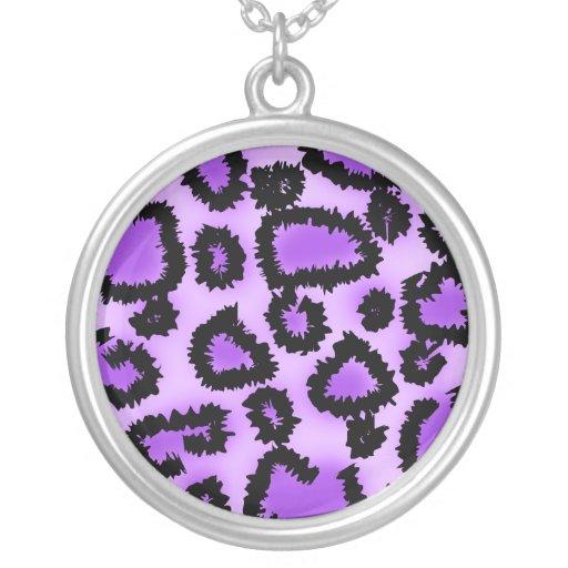 Purple and Black Leopard Print Pattern. Pendant