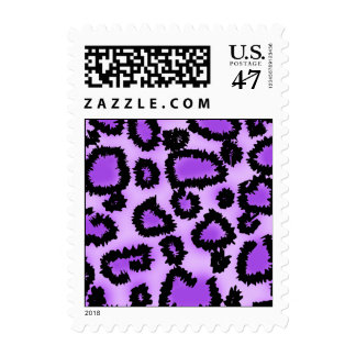 Purple and Black Leopard Print Pattern. Postage