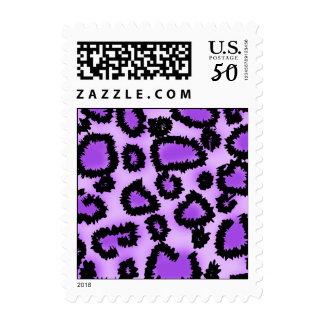 Purple and Black Leopard Print Pattern. Postage