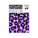 Purple and Black Leopard Print Pattern. Postage Stamps