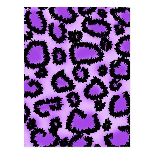 Purple and Black Leopard Print Pattern. Postcard