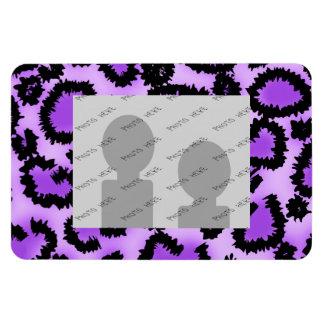Purple and Black Leopard Print Pattern. Rectangular Magnet