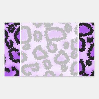 Purple and Black Leopard Print Pattern. Rectangular Sticker