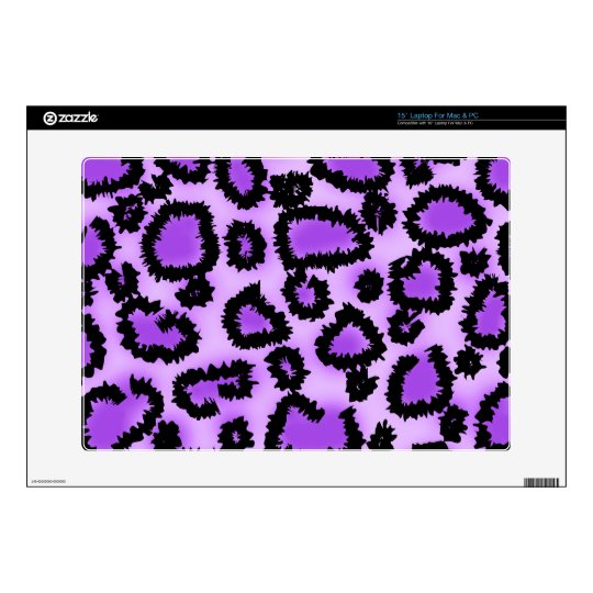 "Purple and Black Leopard Print Pattern. Skin For 15"" Laptop"