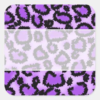 Purple and Black Leopard Print Pattern. Square Sticker