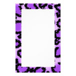 Purple and Black Leopard Print Pattern. Stationery