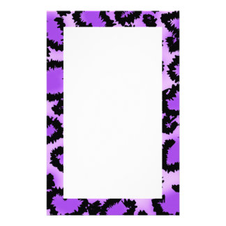 Purple and Black Leopard Print Pattern. Stationery
