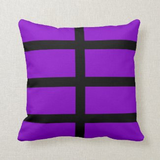 Purple and Black Lines Throw Pillow