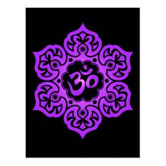 Purple and Black Lotus Flower Om Postcard