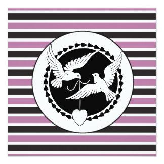 Purple and Black Love Birds Wedding Invitations