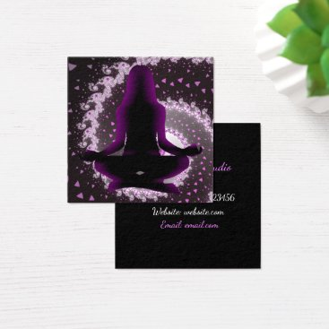Professional Business Purple and Black Mediation Yoga Business Cards
