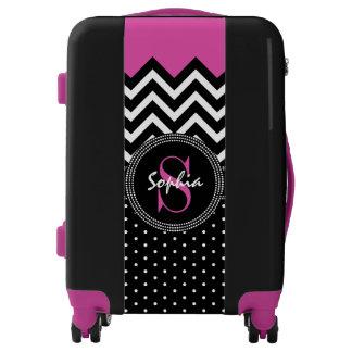 Purple and Black Monogram Chevron Fashion Chic Luggage