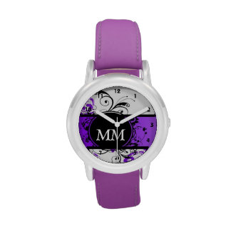 Purple and black monogram on white wristwatch