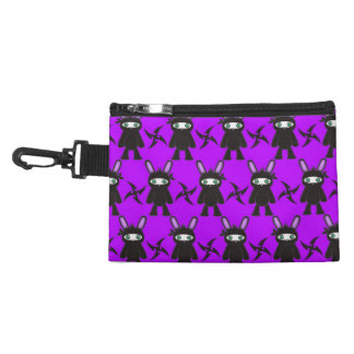 Purple and Black Ninja Bunny Pattern Accessory Bag