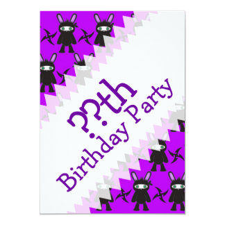 Purple and Black Ninja Bunny Pattern Card