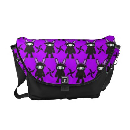 Purple and Black Ninja Bunny Pattern Courier Bags