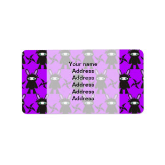 Purple and Black Ninja Bunny Pattern Label