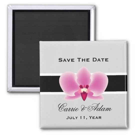 Purple and Black Orchid Save the Date Magnet