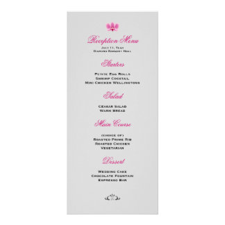 Purple and Black Orchid Wedding Reception Menu Rack Card Template