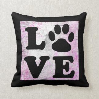 Purple and Black Paw Print Dog Cat Pillow