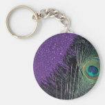 Purple and Black Peacock Basic Round Button Keychain