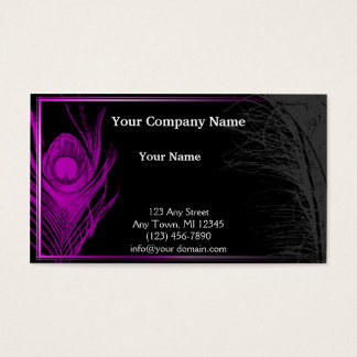 Purple and Black Peacock Business Card