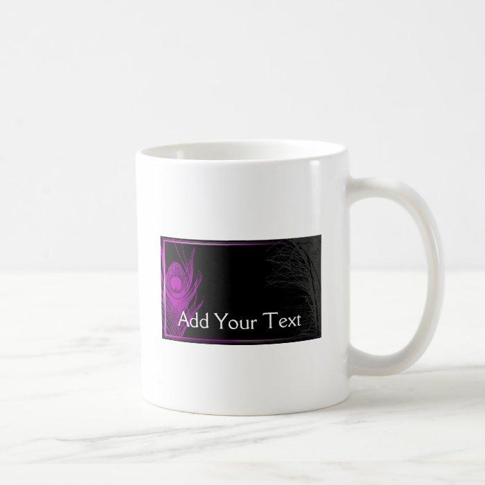 Purple and Black Peacock Coffee Mug