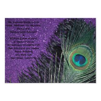 "Purple and Black Peacock Wedding 5"" X 7"" Invitation Card"