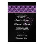 "Purple and Black Peacock Wedding Metallic Template 5"" X 7"" Invitation Card"