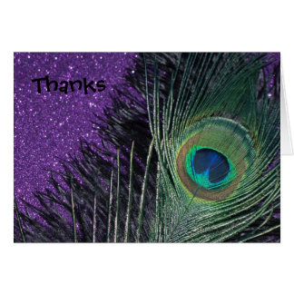 Purple and Black Peacock Wedding Thank You Cards