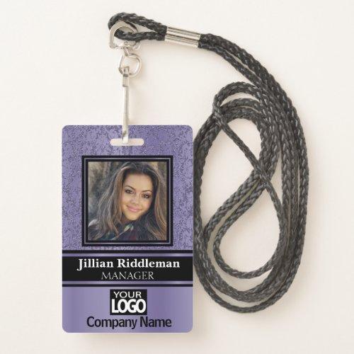 Purple and Black Photo and Logo Badge