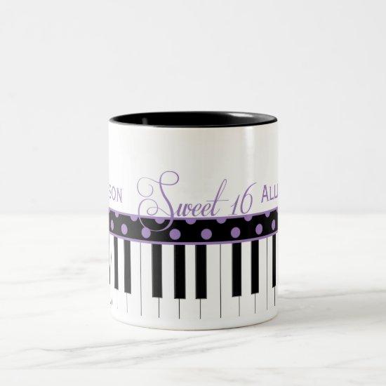 Purple and Black Piano Theme Sweet 16 Coffee Mug