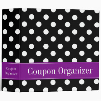 "Purple and Black Polka Dot 2"" Coupon Organizer 3 Ring Binder"