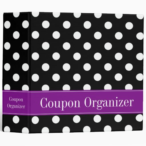 "Purple and Black Polka Dot 2"" Coupon Organizer Vinyl Binder"