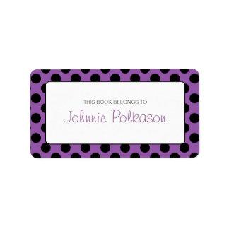 Purple and Black Polka Dot Bookplate Labels Address Label