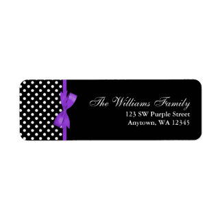 Purple and Black Polka Dot Bow Label
