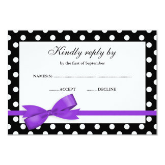 Purple and Black Polka Dot Bow RSVP 3.5x5 Paper Invitation Card