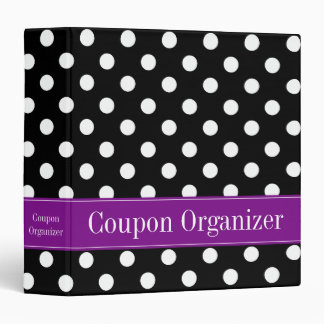 Purple and Black Polka Dot Coupon Organizer 3 Ring Binder