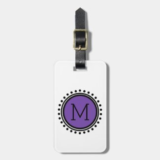 Purple and Black Polka Dot Monogram Bag Tag