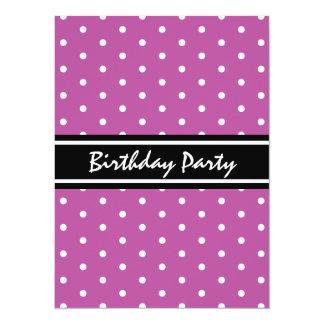 Purple and Black Polka Dot Pattern Birthday Brunch Card