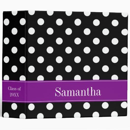 Purple and Black Polka Dot Personalized School 3 Ring Binders