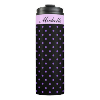 Purple and Black Polka Dot Special Personalized Thermal Tumbler