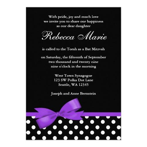 Purple and Black Polka Dots Bow Bat Mitzvah Personalized Invitation